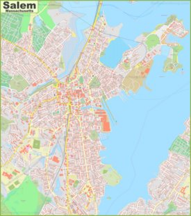 Large detailed map of Salem (Massachusetts)