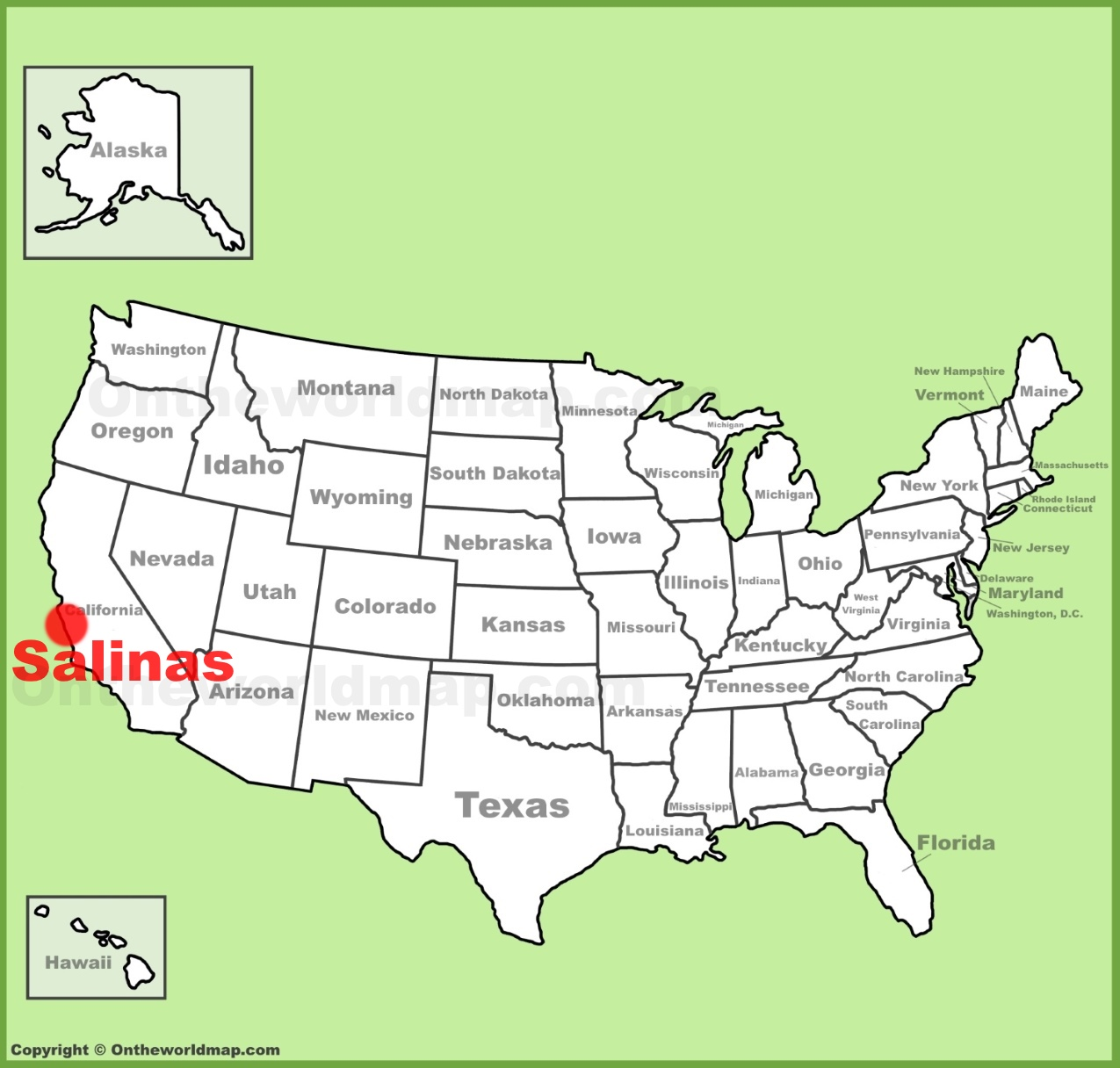 Salinas location on the US Map