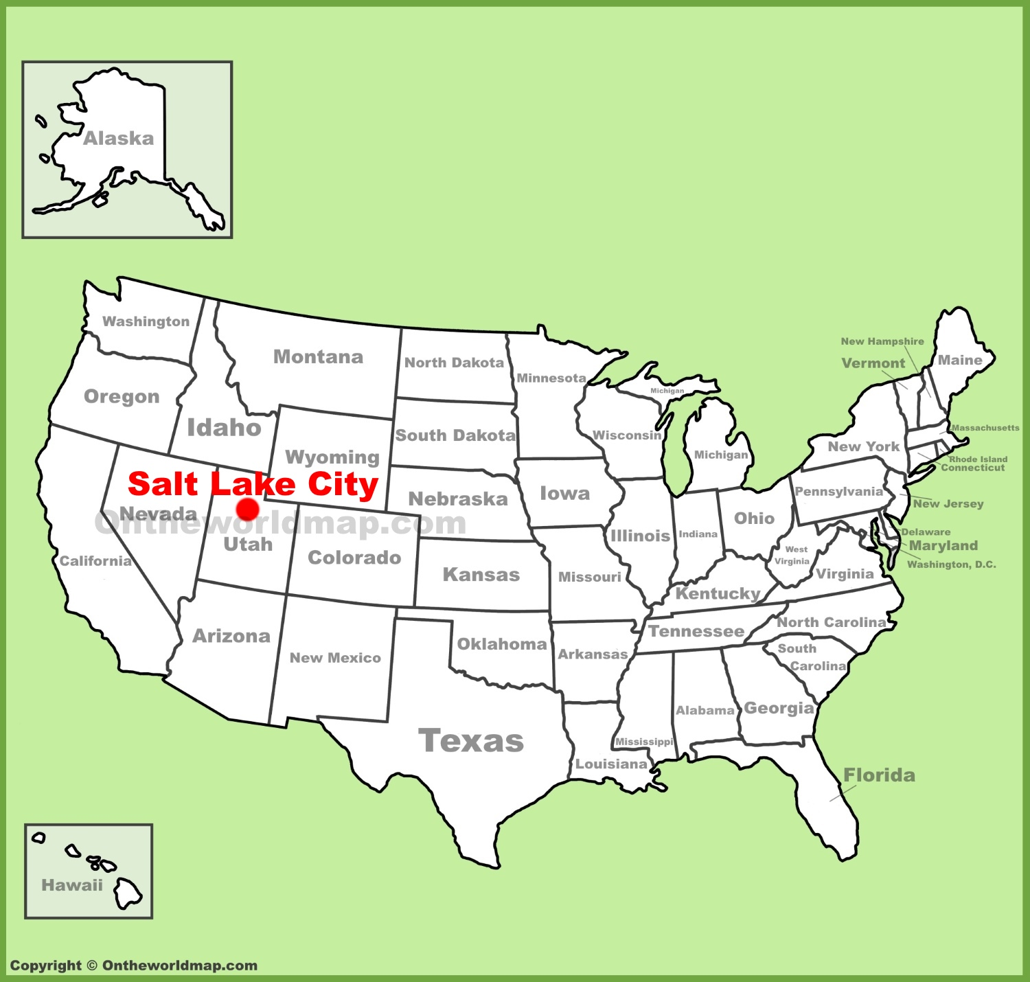 Salt Lake City On Us Map.Salt Lake City Location On The U S Map