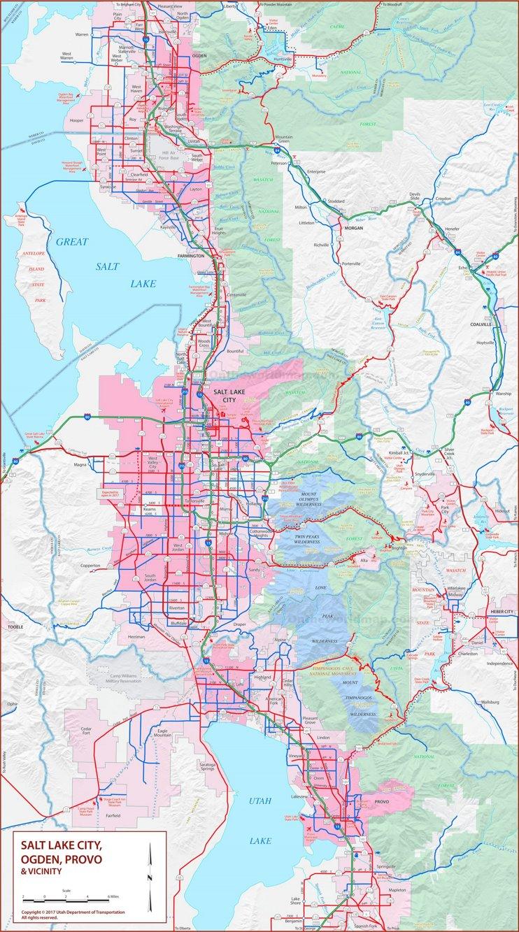 Salt Lake City, Ogden, Provo and vicinity map