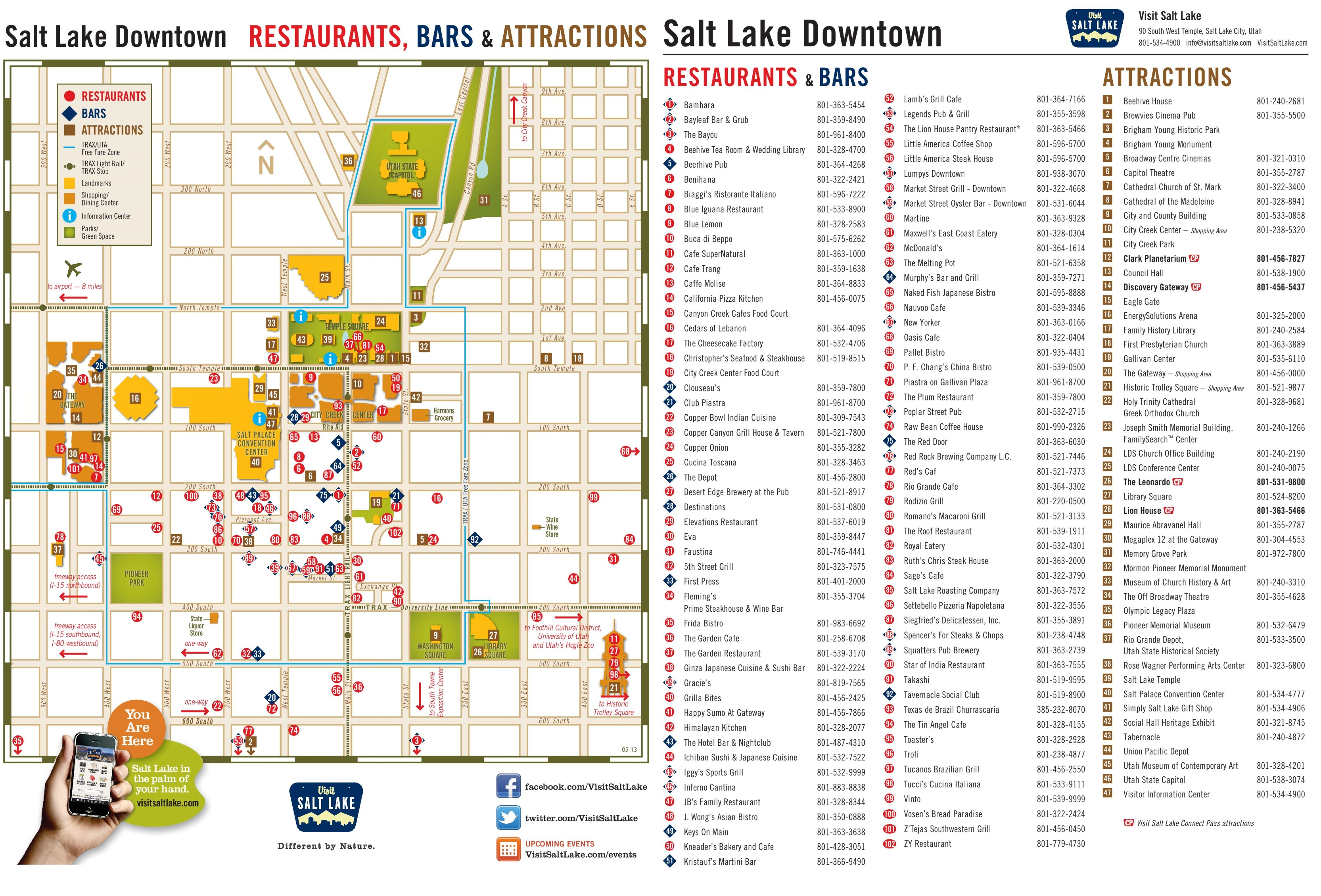 Salt Lake City tourist attractions map – Salt Lake City Tourist Map