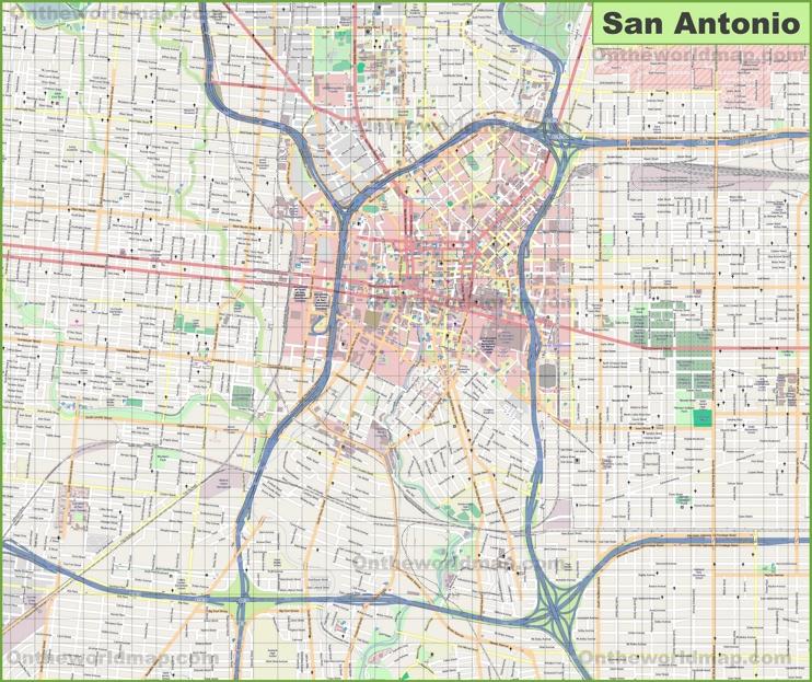 Large detailed map of San Antonio