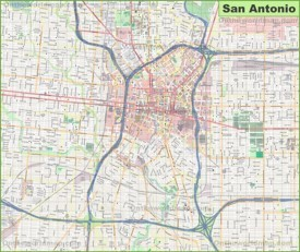 Large detailed map of San Antonio