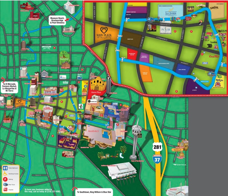 San Antonio hotels and sightseeings map
