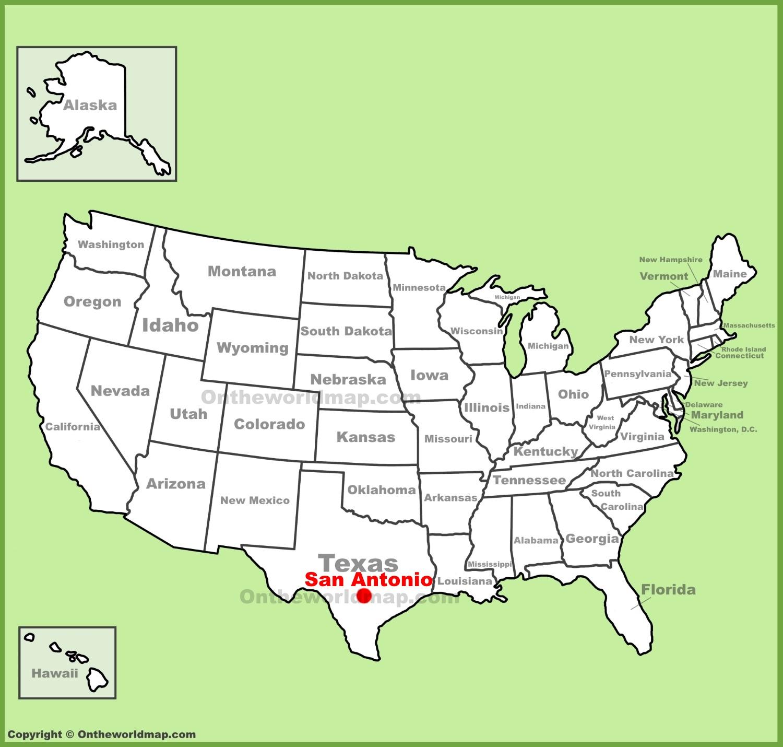 San Antonio On Map San Antonio location on the U.S. Map