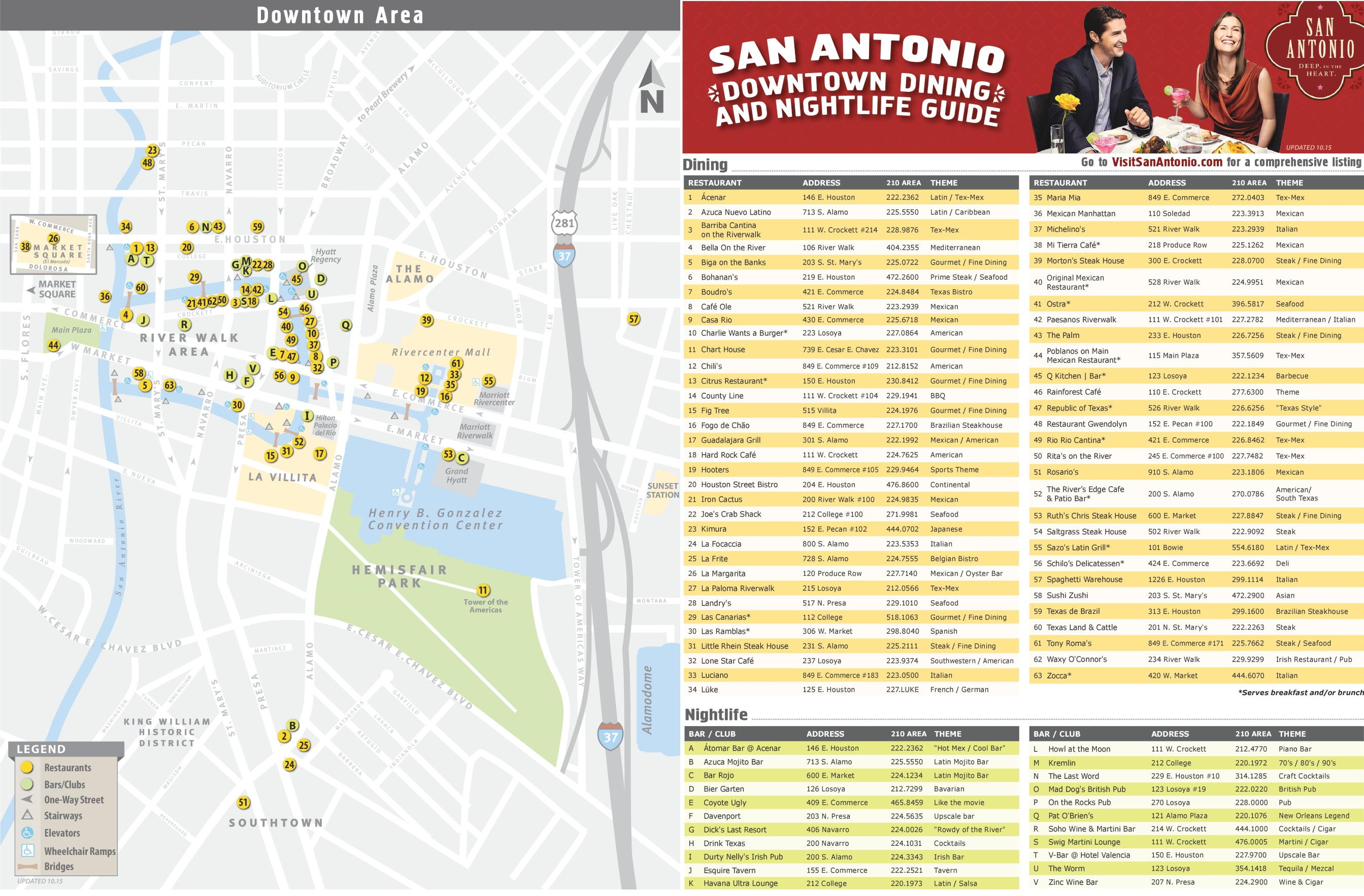 San Antonio restaurants, bars and nightclubs map on sac campus map, rockford college map, wyoming college map, pasadena college map, gulf coast college map, miami college map, city college of san francisco map, grand canyon college map, albany college map, valparaiso college map, oklahoma college map, hudson valley college map, buffalo college map, utah college map, long beach college map, denver college map, new jersey college map, university of houston college map, richmond college map, saint philips college map,