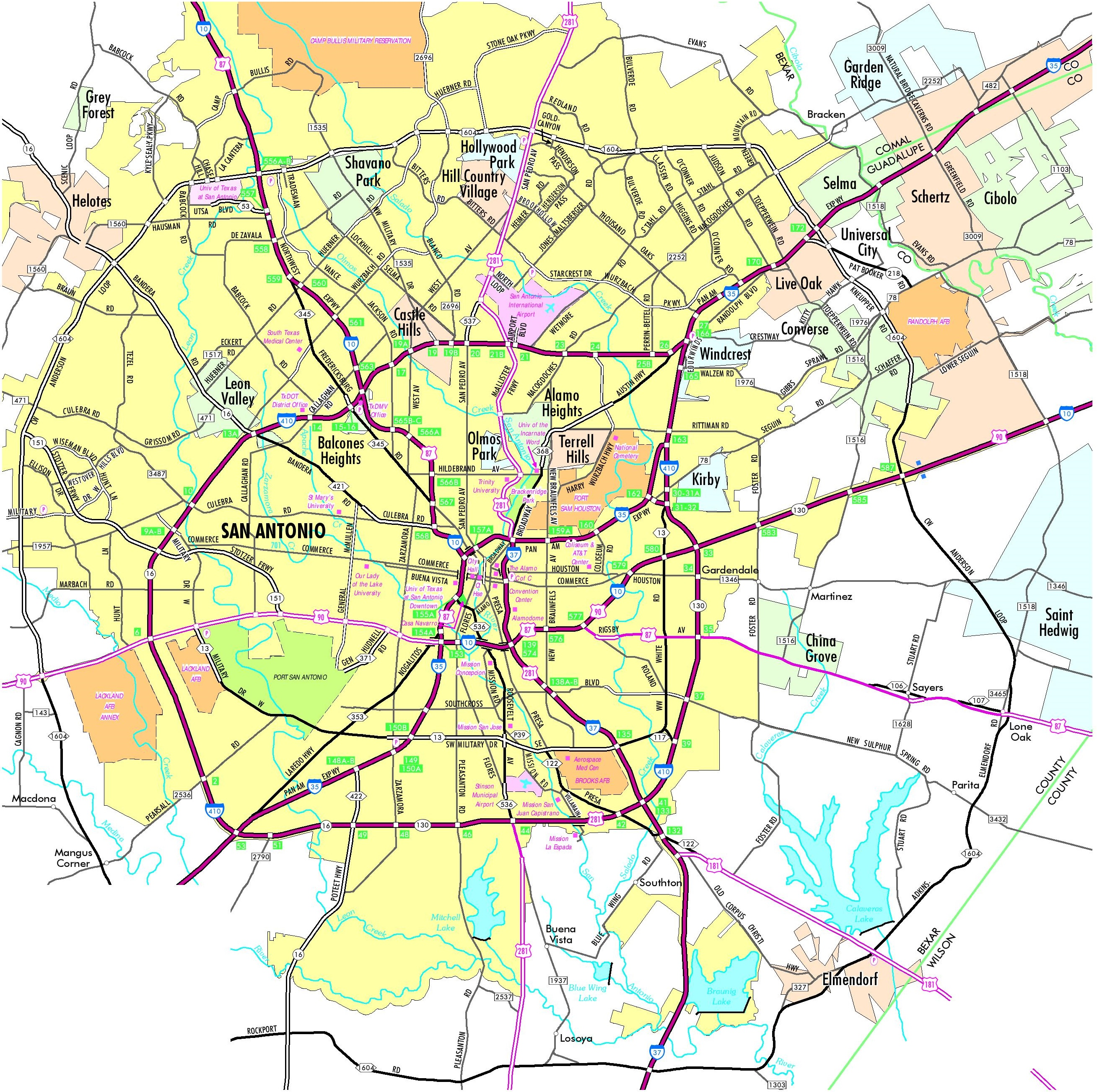 San Antonio Maps Texas US Maps Of San Antonio - San antonio on us map