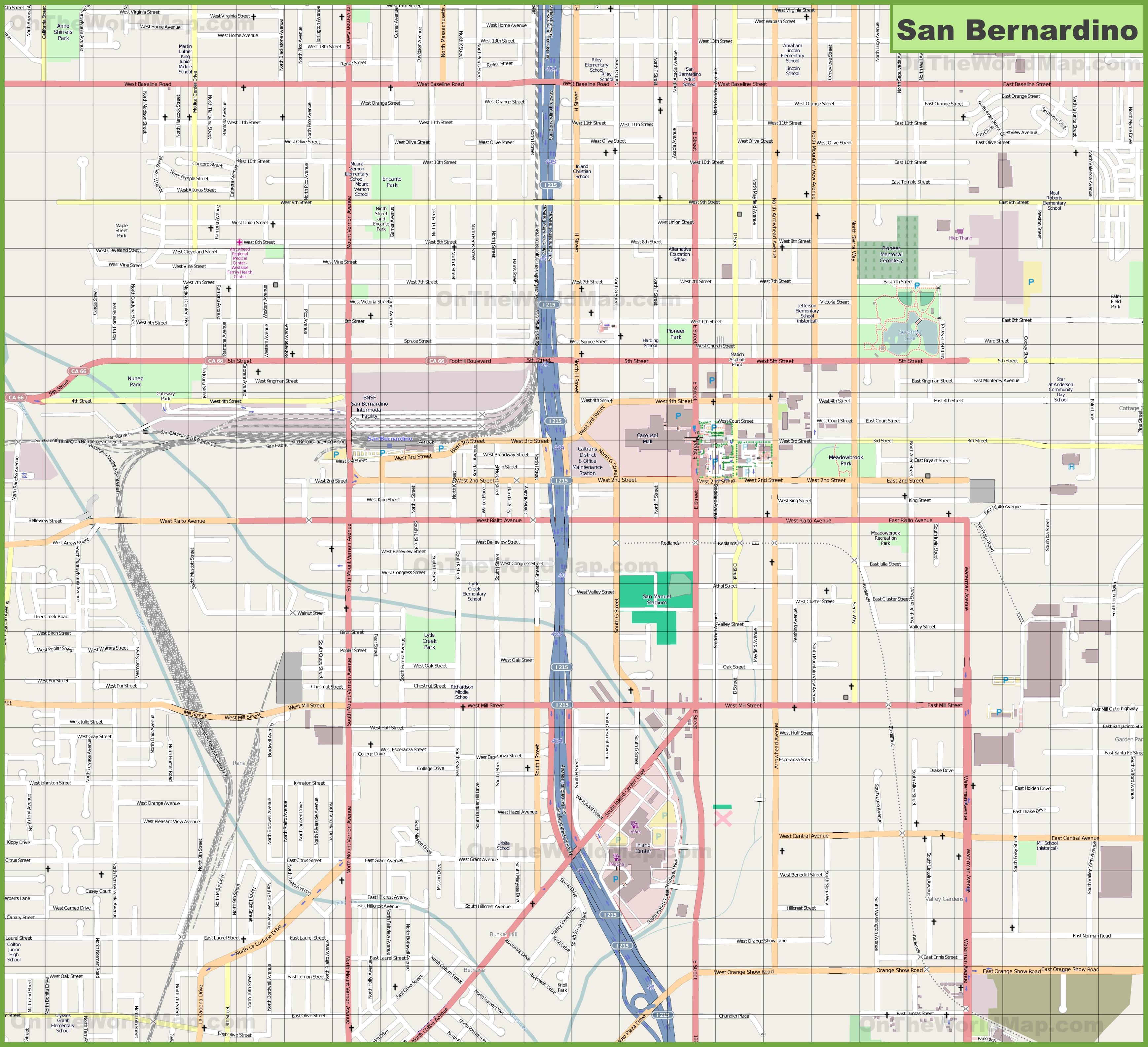 Large detailed map of San Bernardino