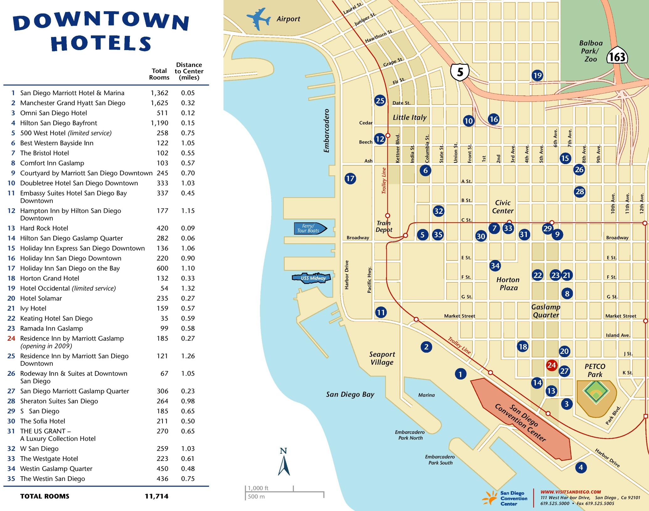 Downtown San Diego Hotel Map - Map of houston hotels downtown