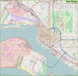 Large detailed street map of San Diego