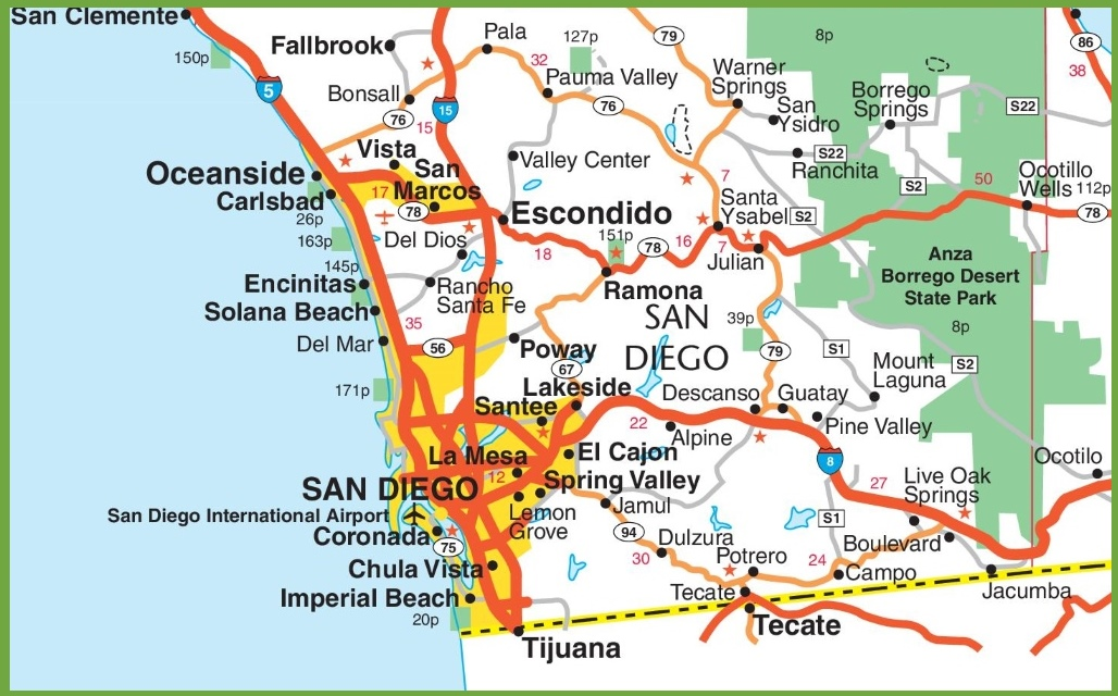 San Diego area map