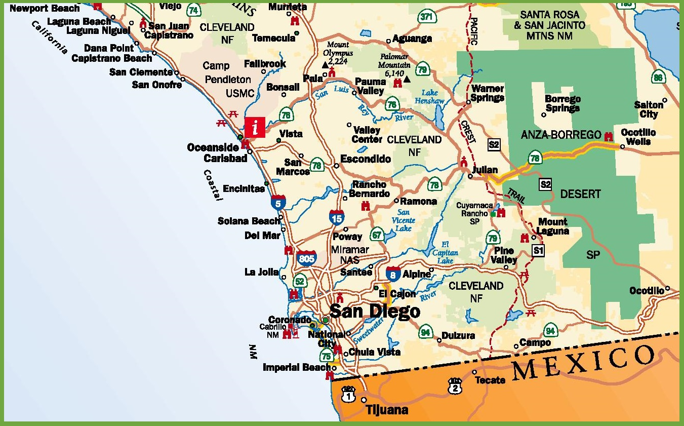 Map Of San Diego San Diego area road map Map Of San Diego