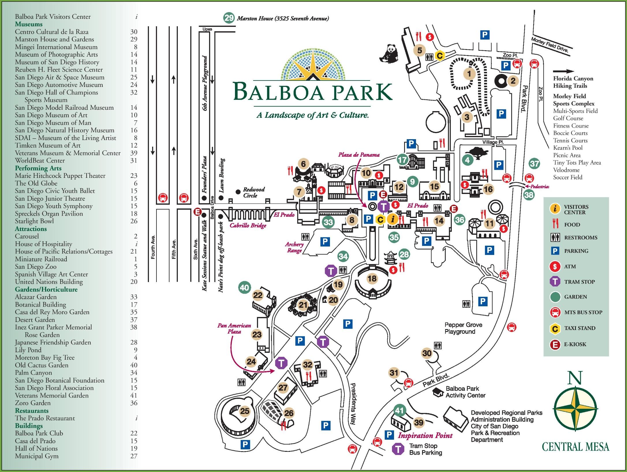 Balboa Park San Diego Map San Diego Balboa Park map