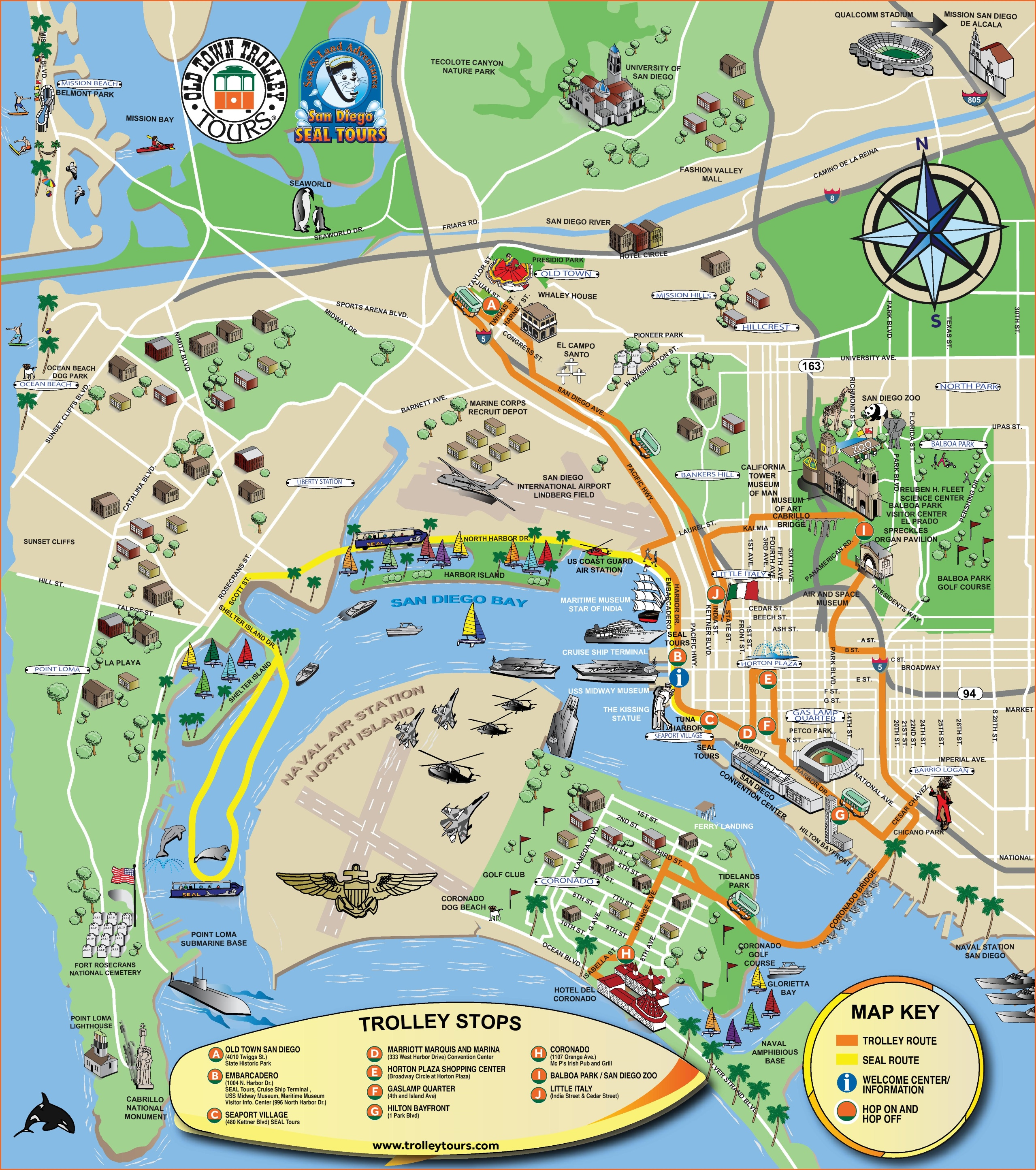 San Diego Maps California US – Tourist Attractions Map In California