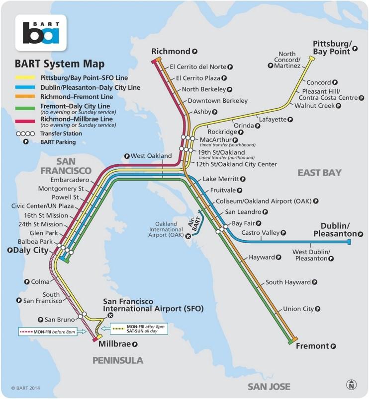 San Francisco BART map