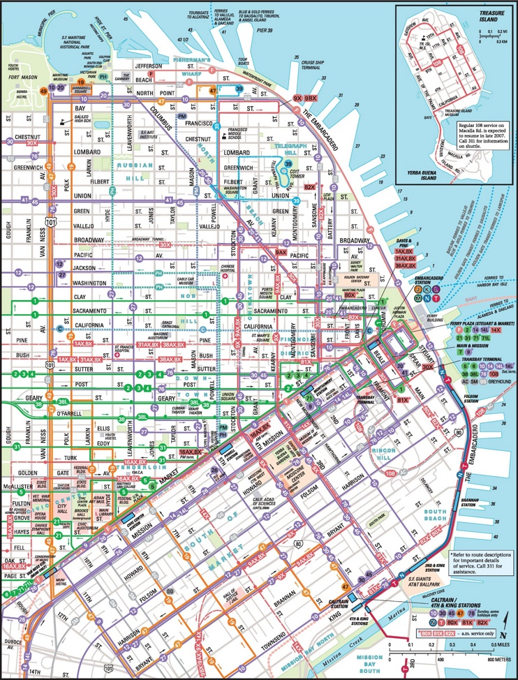 San Francisco downtown Muni map
