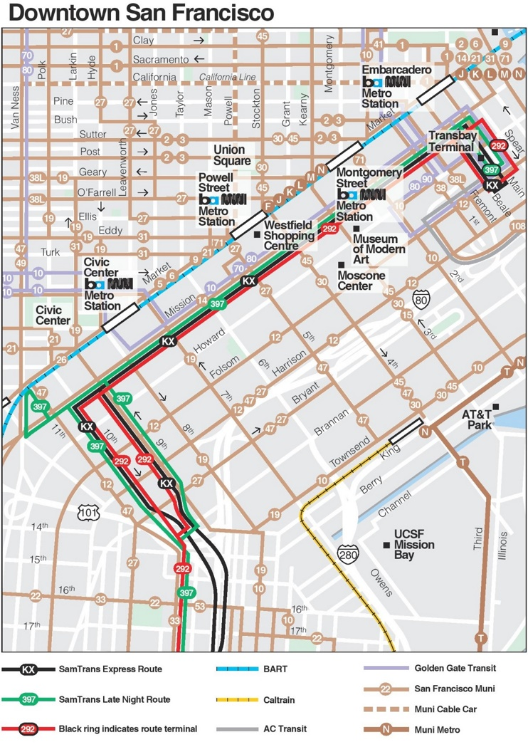 San Francisco downtown transport map