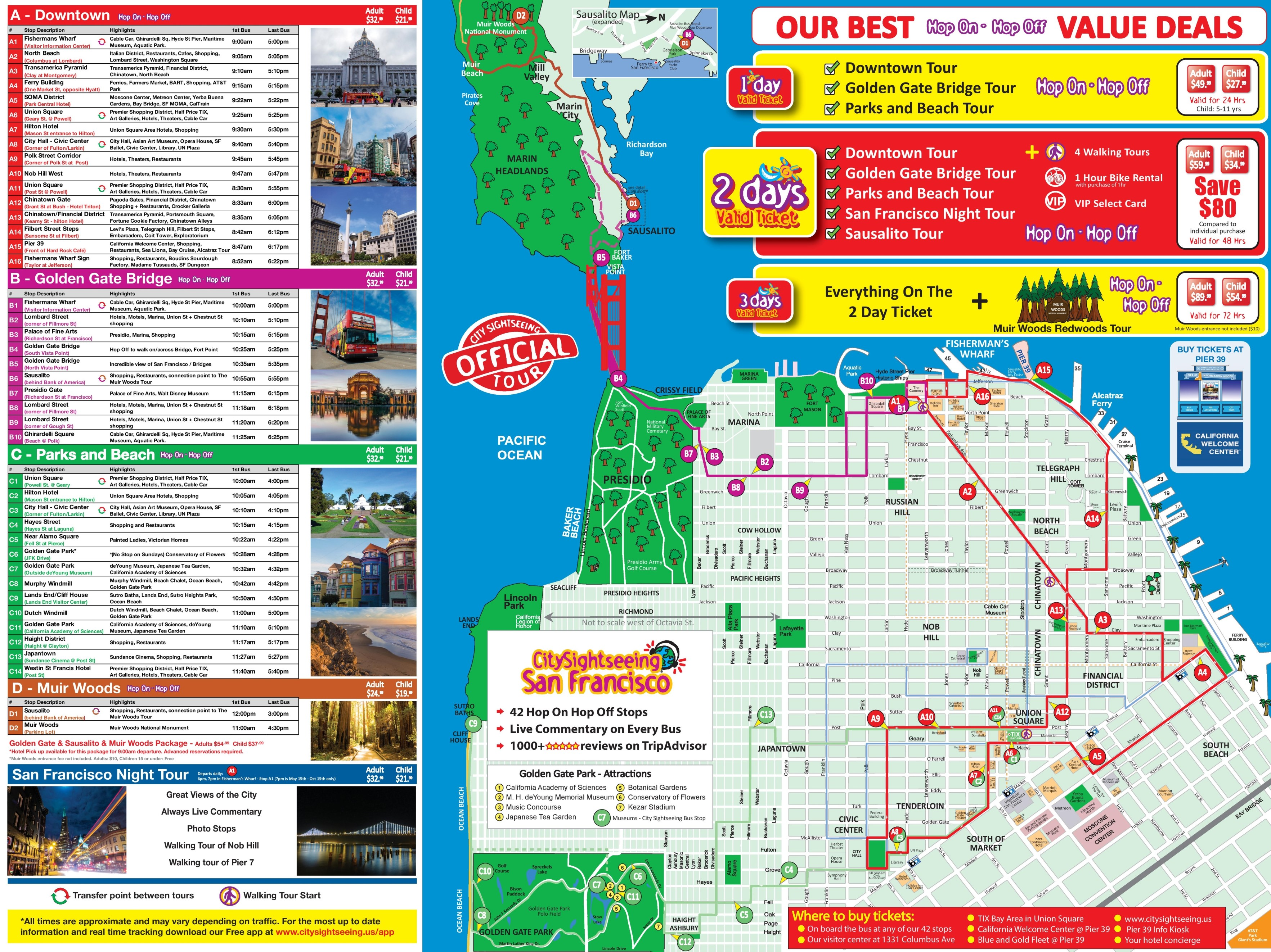 San Francisco Attractions Map San Francisco tourist attractions map