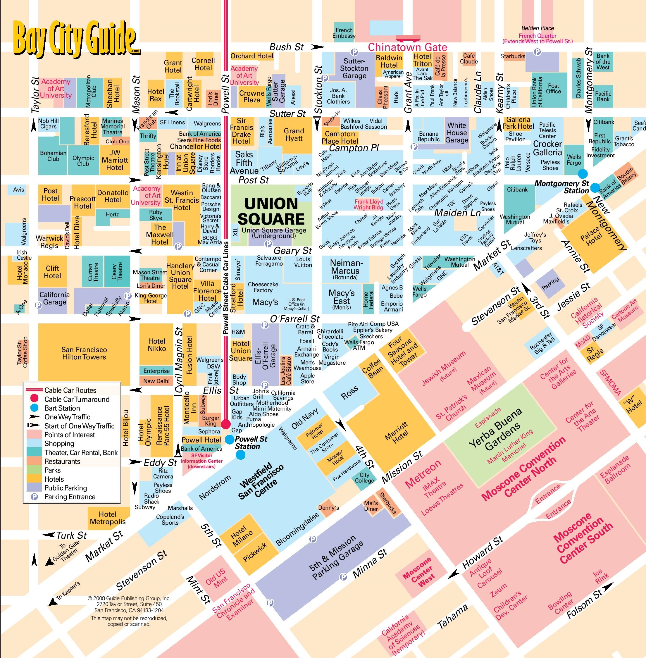 Map of hotels in san francisco | Download them and print