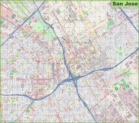 Large detailed map of San Jose