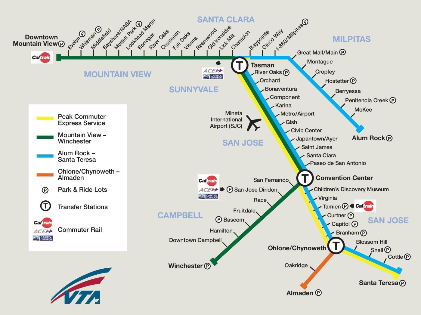 san jose area rail map. san jose rail map