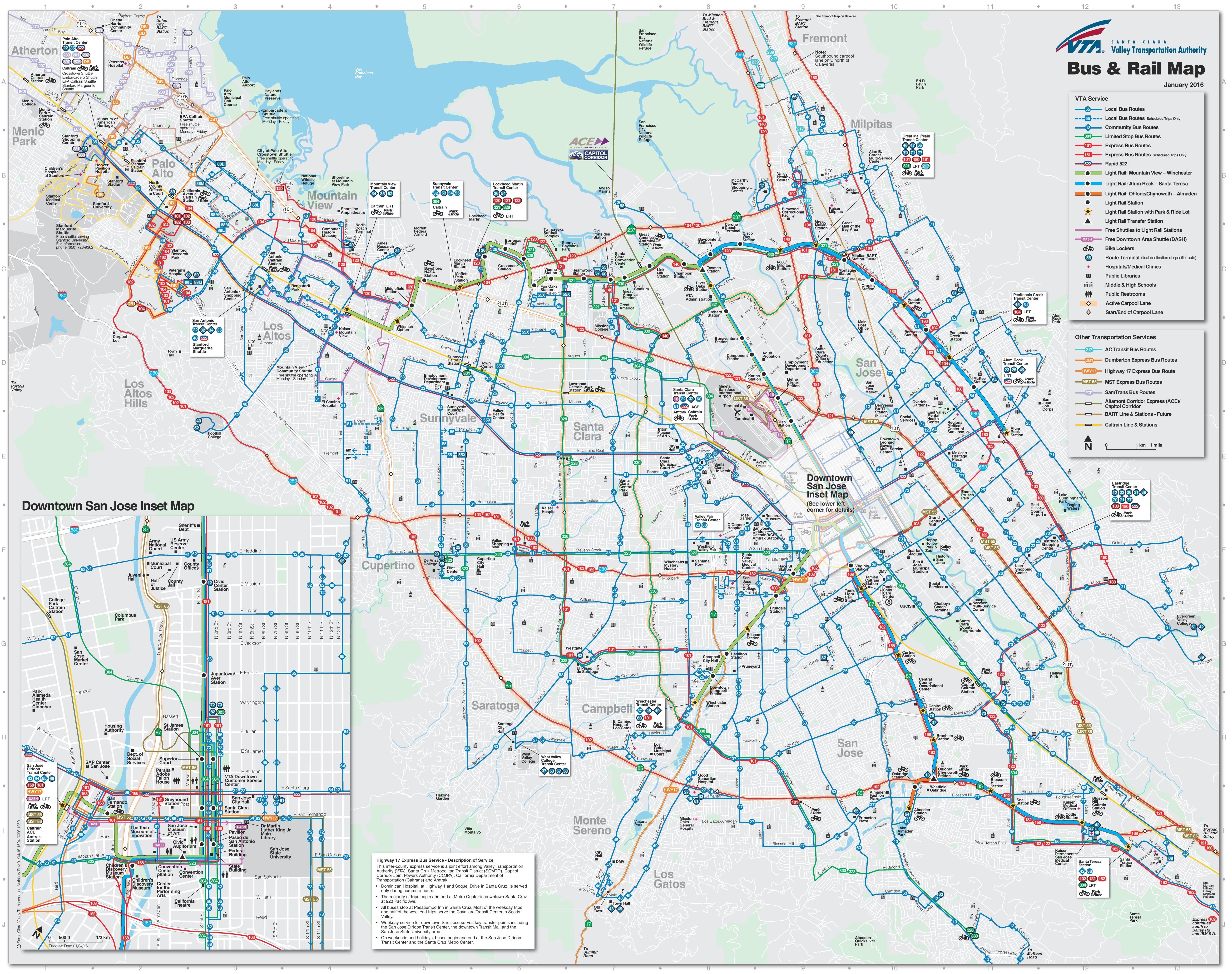 San Jose Bus And Rail Map San Jose Usa Map