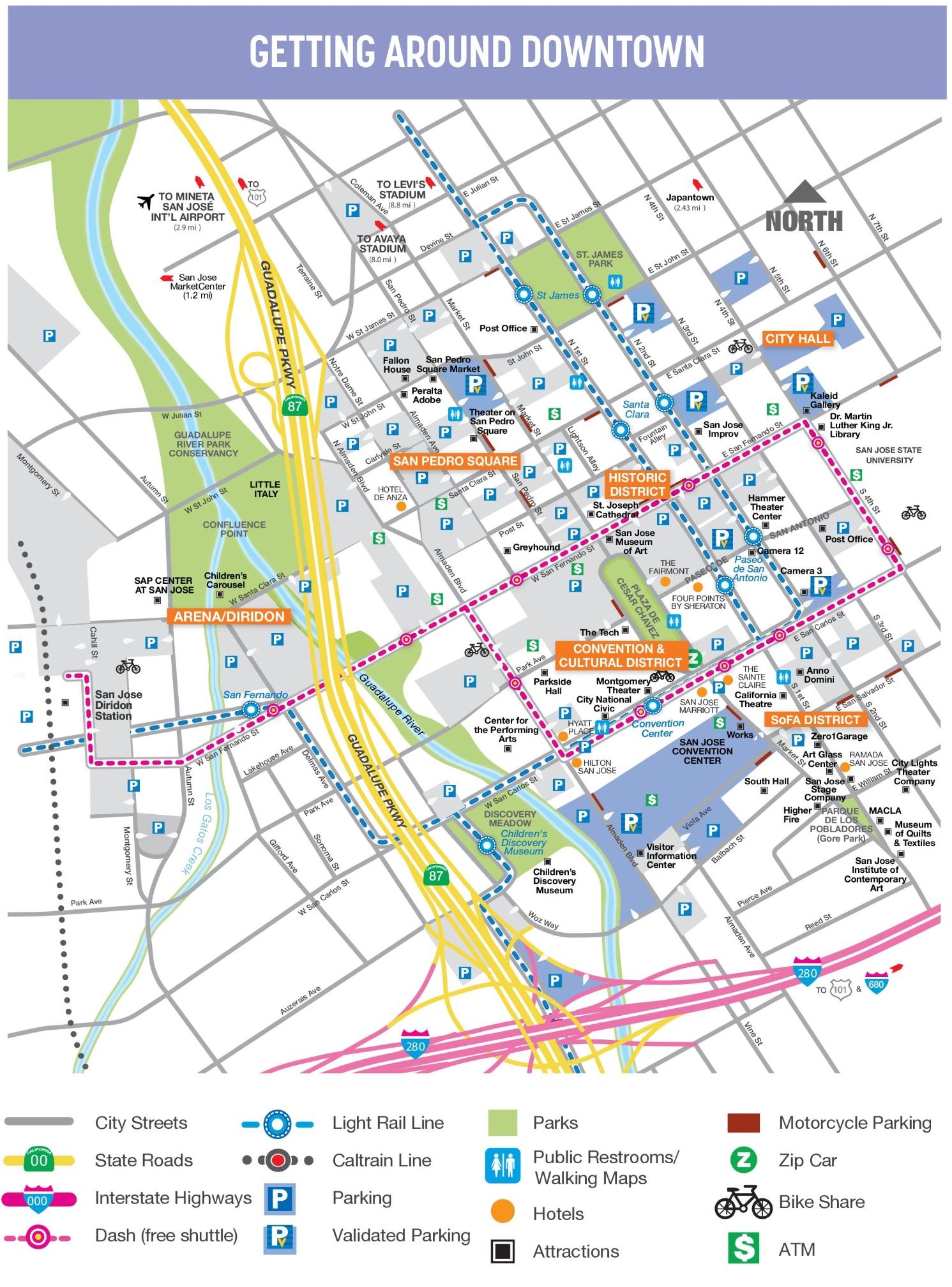 Map San Jose San Jose downtown map
