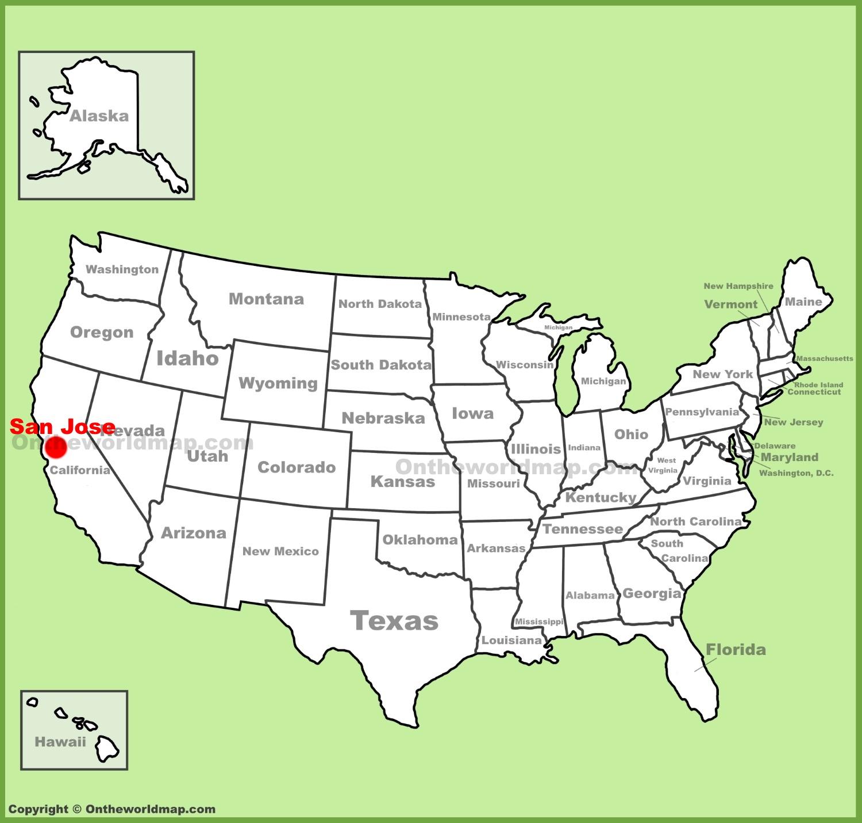 Map San Jose San Jose location on the U.S. Map