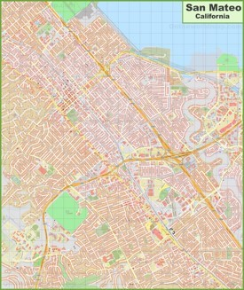Large detailed map of San Mateo
