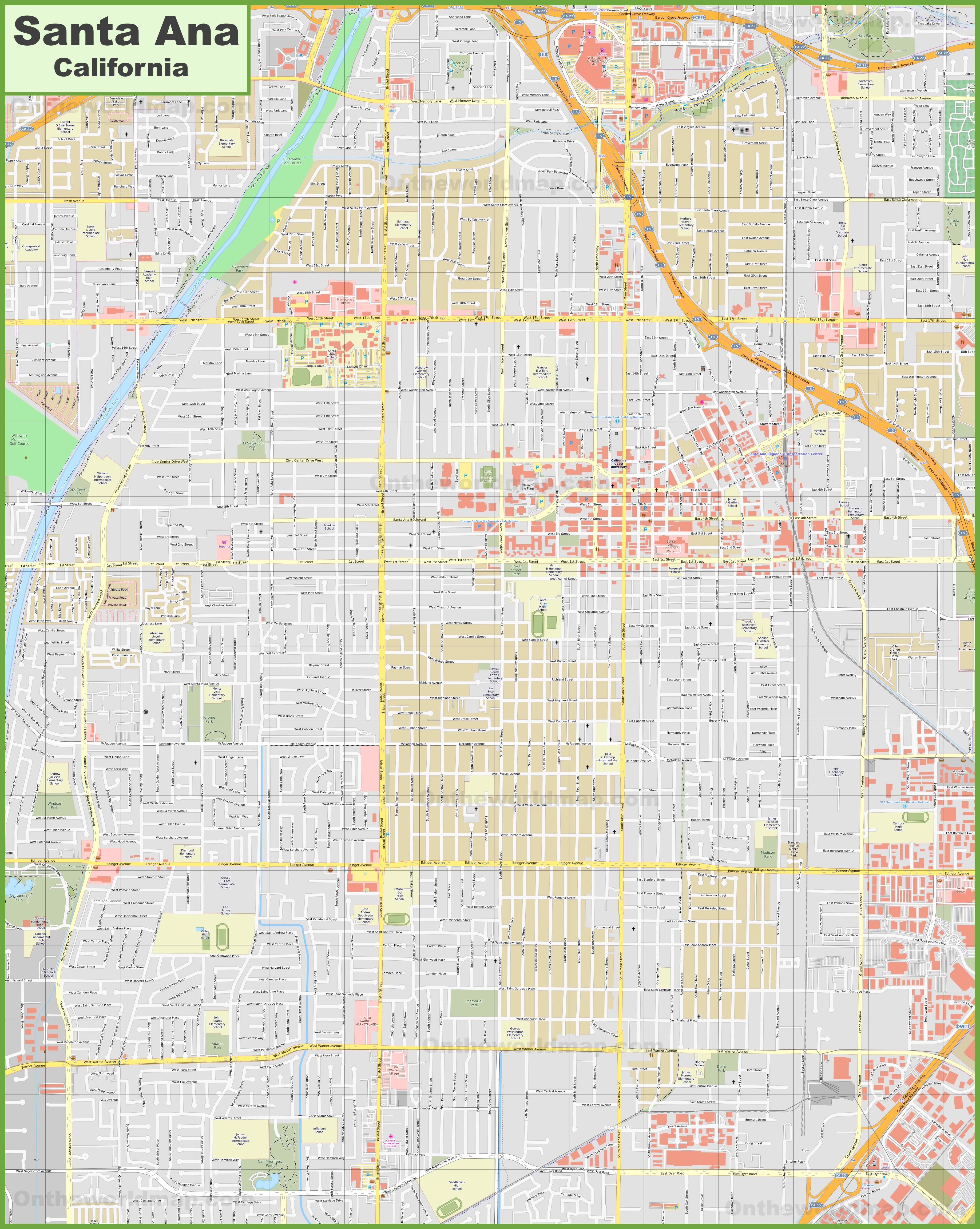 Large detailed map of Santa Ana on huntington beach map, john wayne airport map, san francisco map, los angeles map, rancho santa margarita map, las vegas map, los robles map, rancho blanco map, la saladita map, rancho santa fe map, sacramento map, caborca map, downieville map, fresno map, oakland map, rancho mission viejo map, east compton map, south andros map, bakersfield map, el golfo de santa clara map, san diego map, anaheim map, san pablo map, laguna beach map, san jose map, playa santa teresa map, la frontera map, woodlake map,