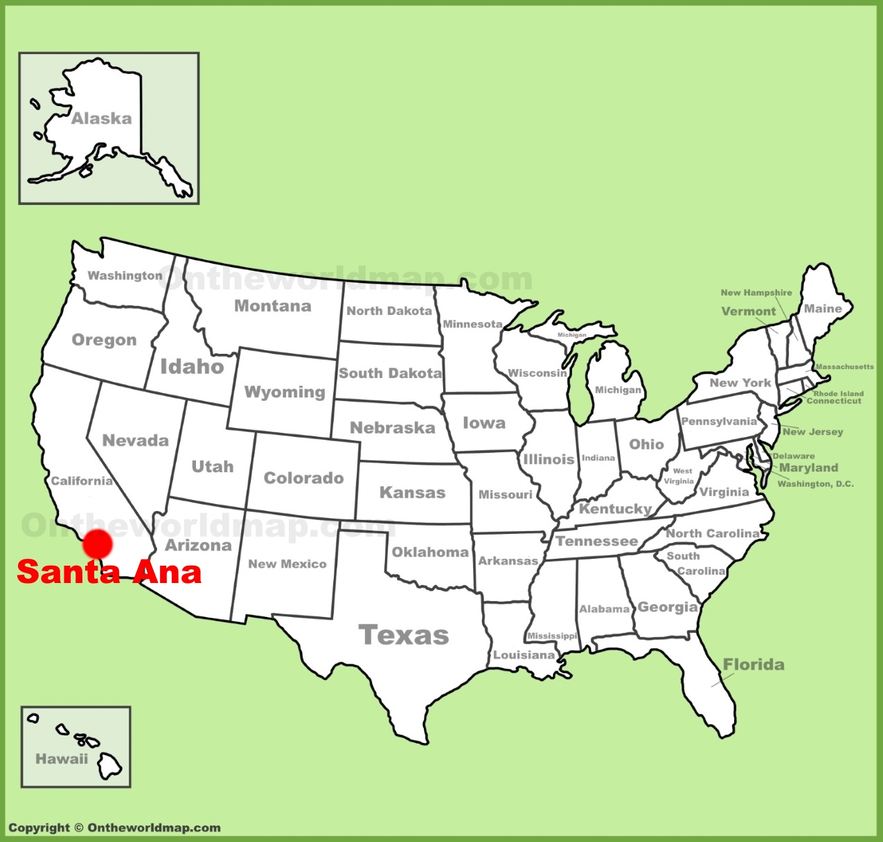 Santa Ana location on the US Map