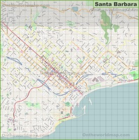 Large detailed map of Santa Barbara