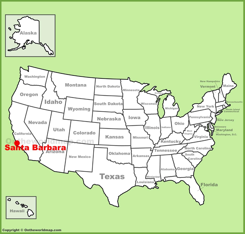 Santa Barbara Map Santa Barbara location on the U.S. Map Santa Barbara Map