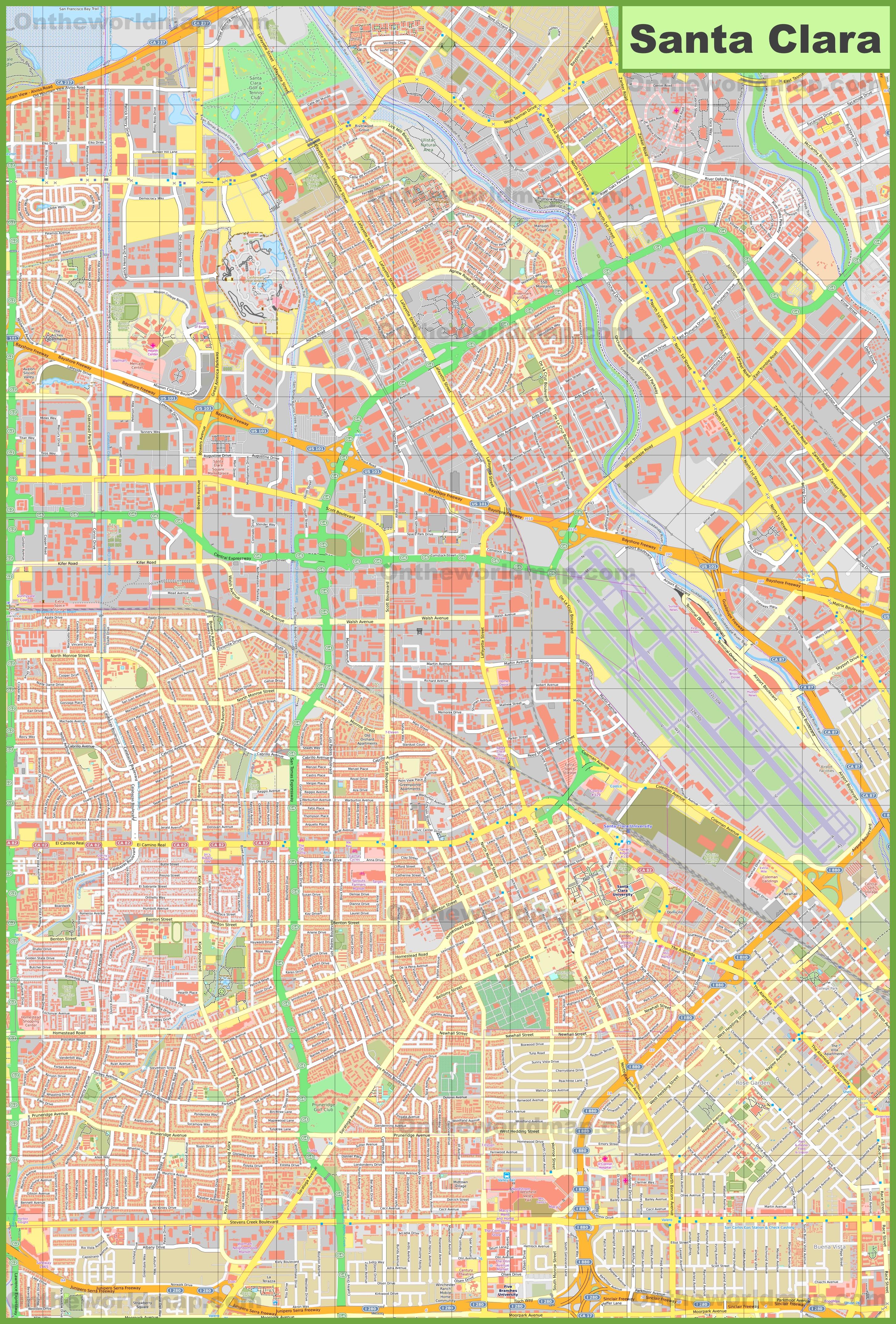 Large detailed map of Santa Clara