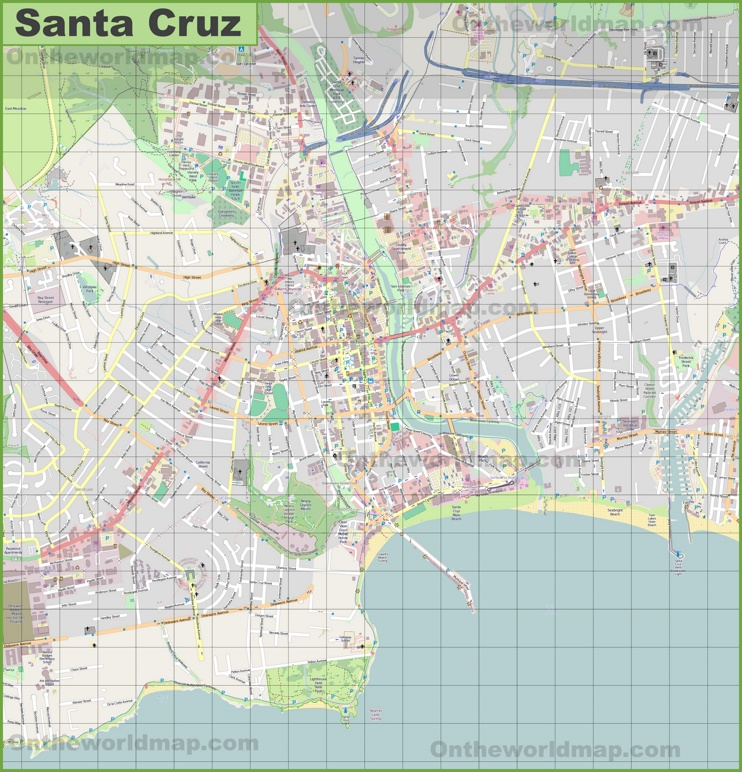 Large detailed map of Santa Cruz