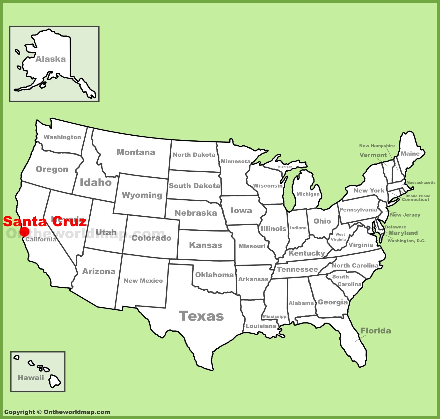 Santa Cruz location on the US Map
