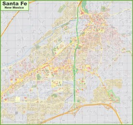 Large detailed map of Santa Fe