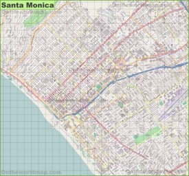 Large detailed map of Santa Monica