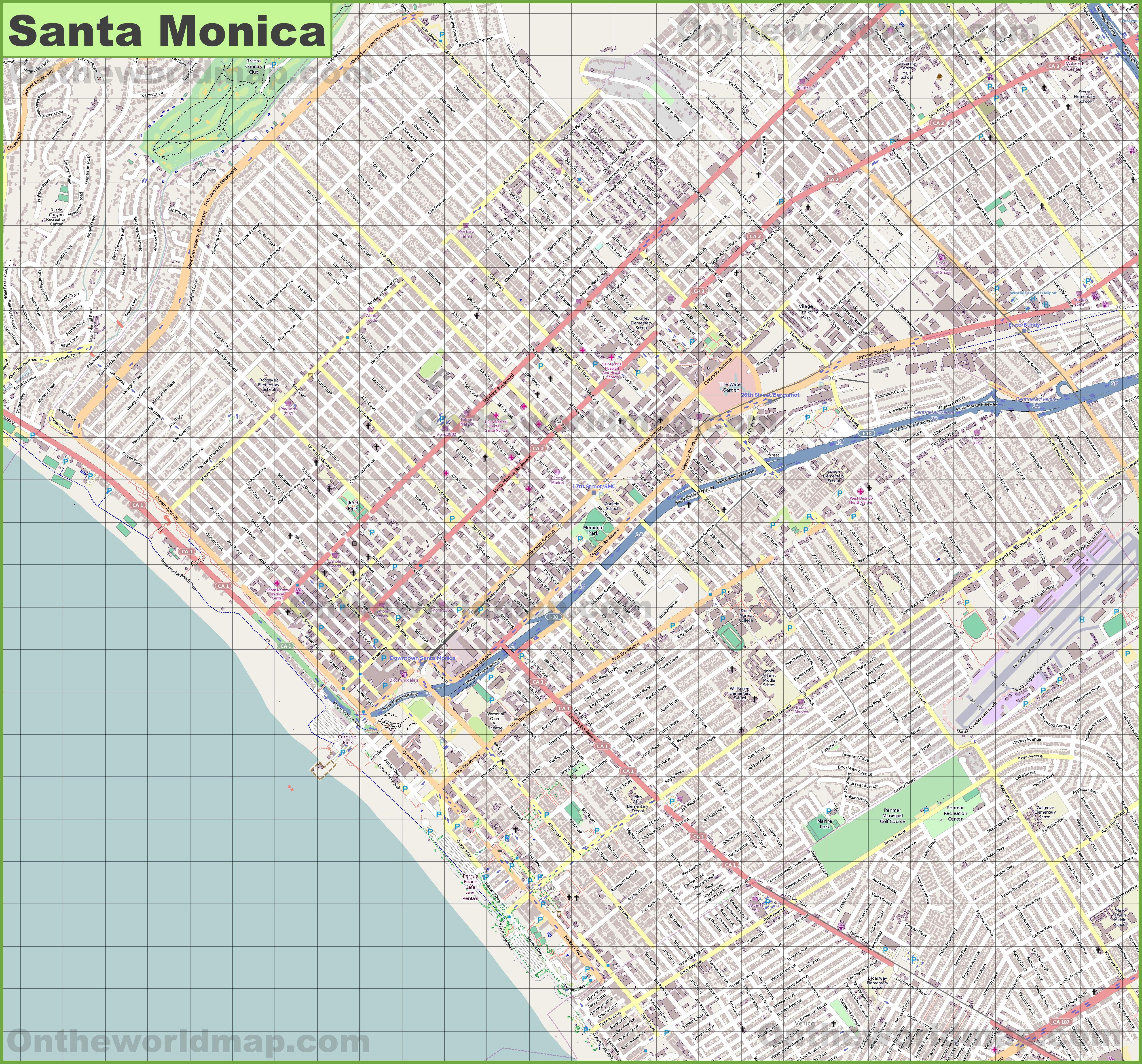 Large detailed map of Santa Monica