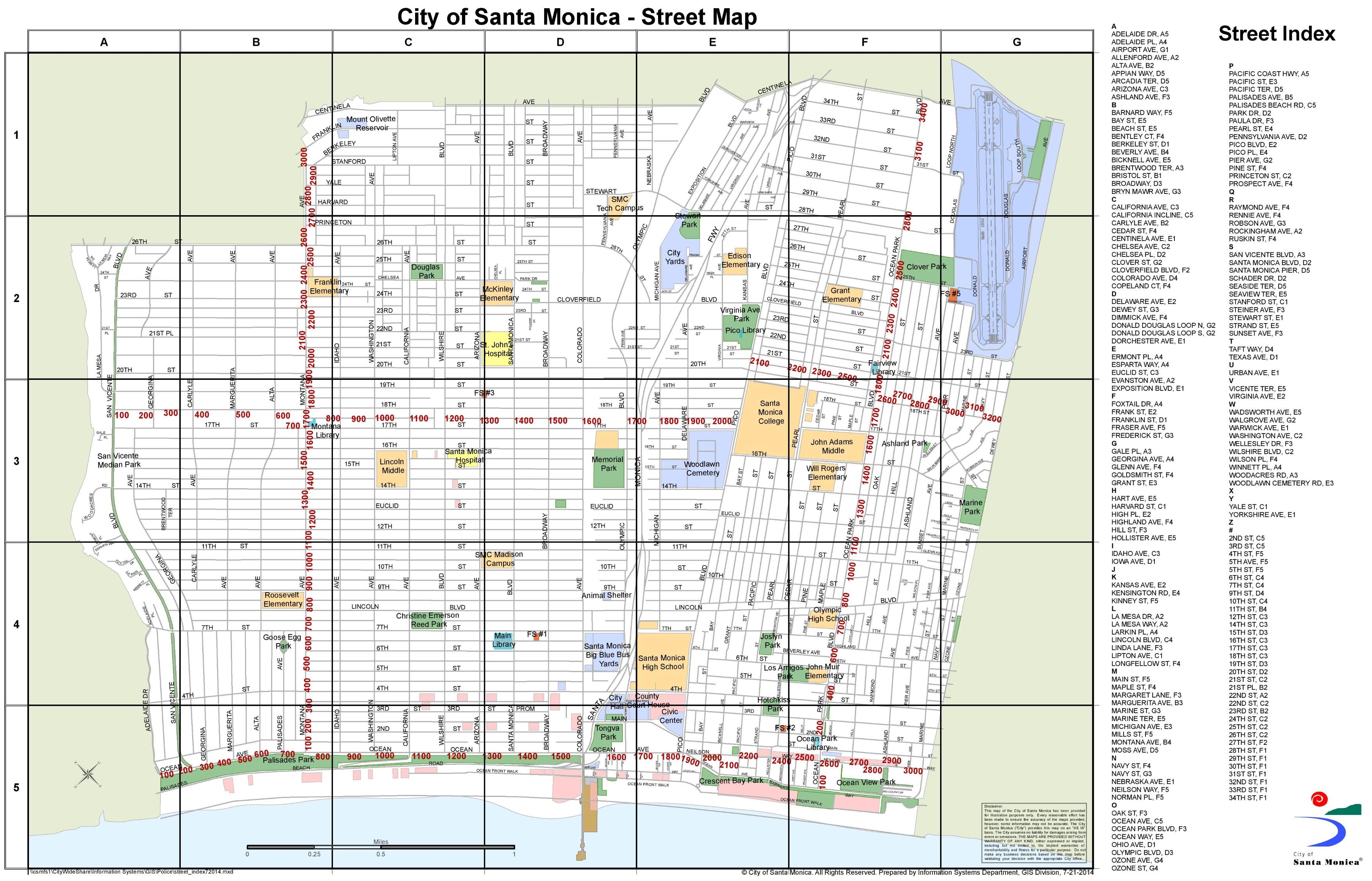 Santa Monica Map Santa Monica street map Santa Monica Map