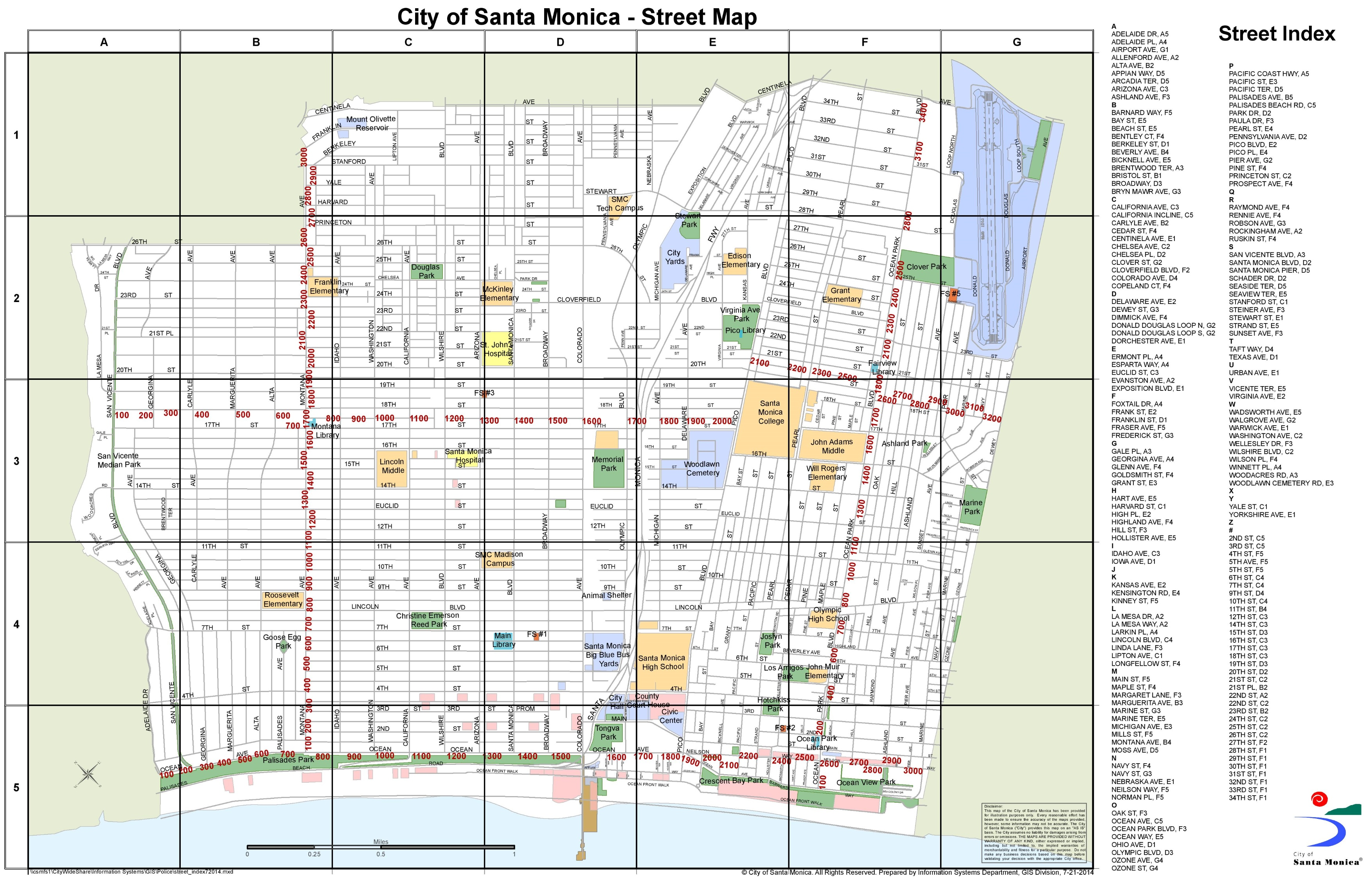 Map Santa Monica Santa Monica street map Map Santa Monica