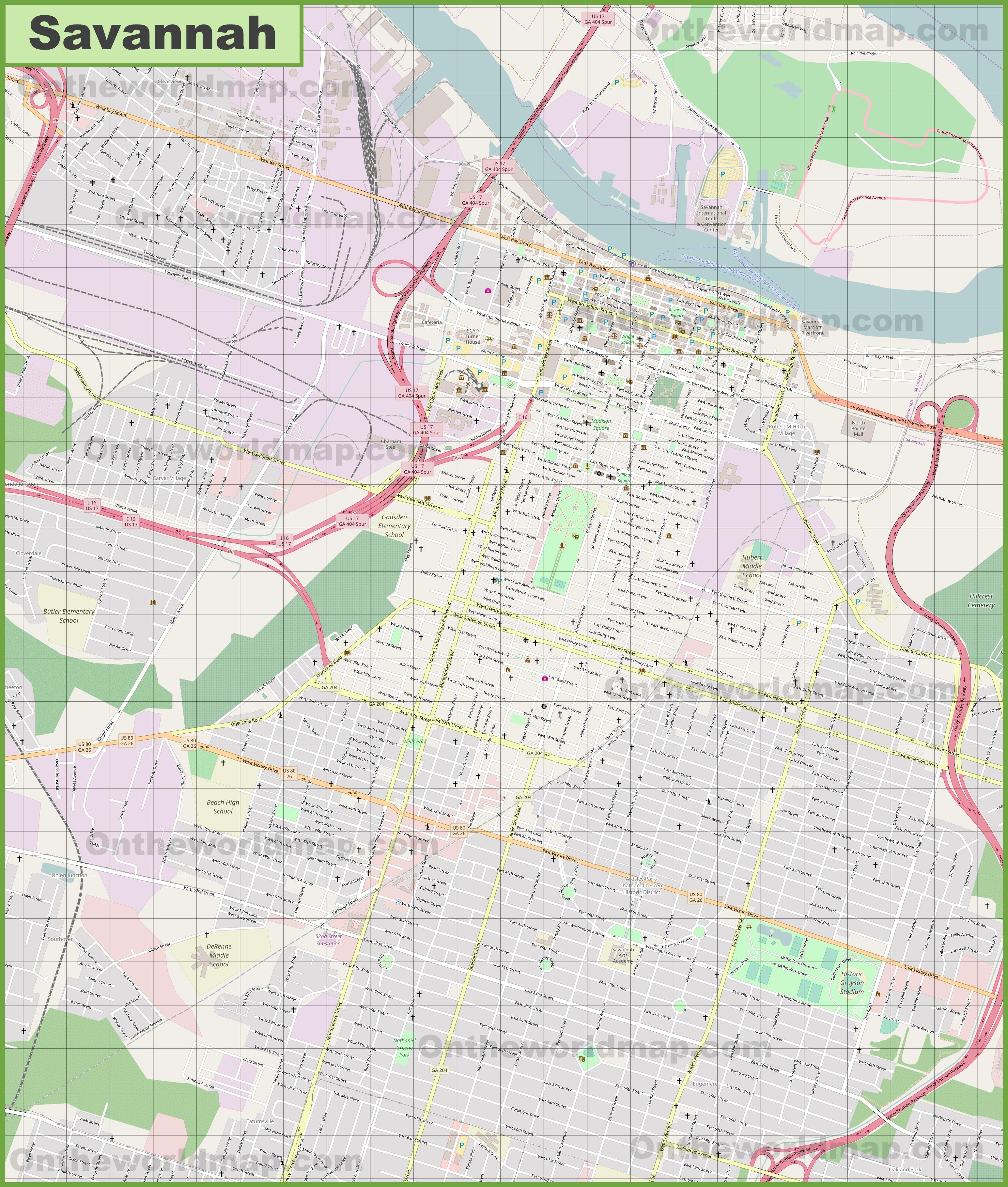 Large detailed map of Savannah