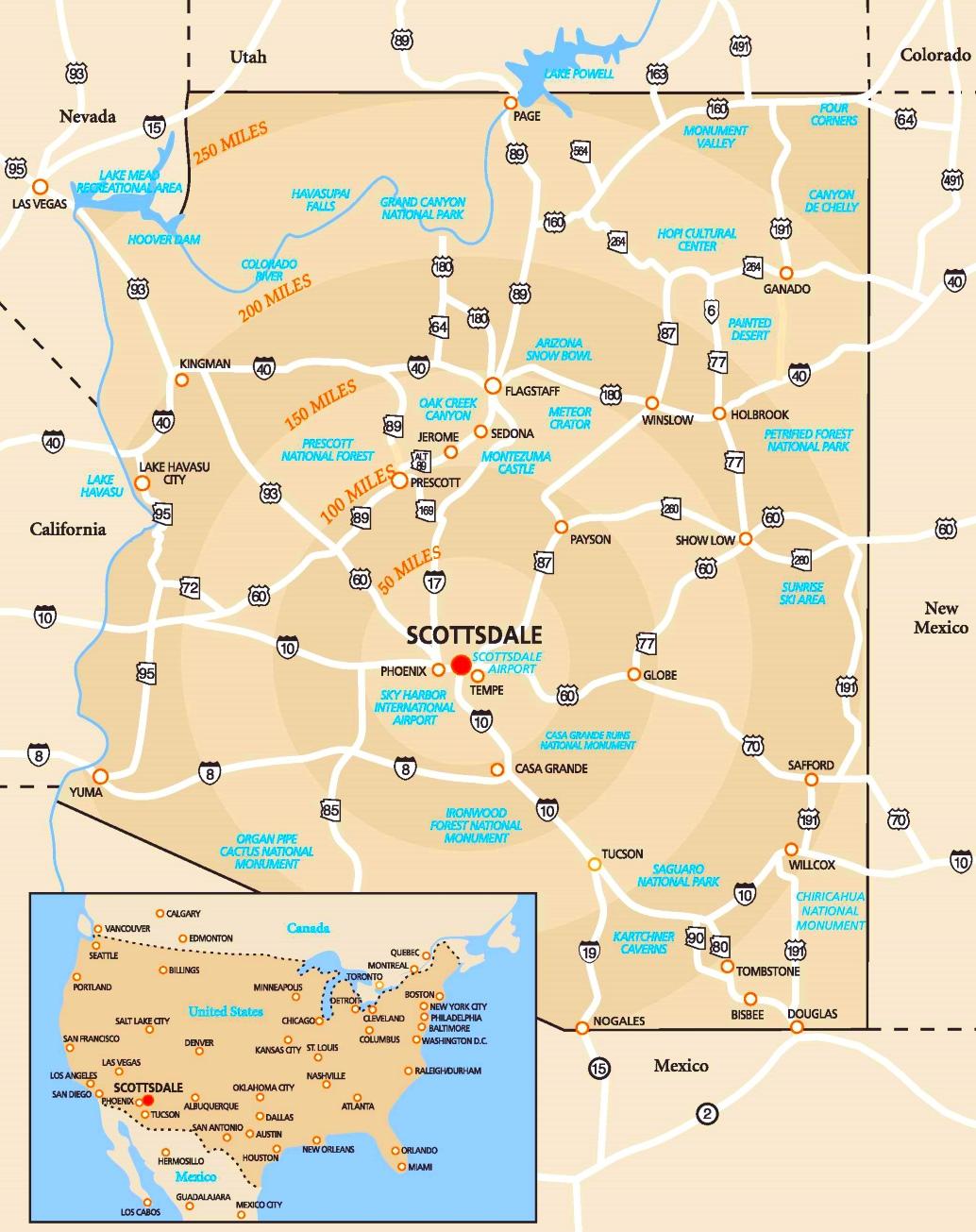 Scottsdale area road map