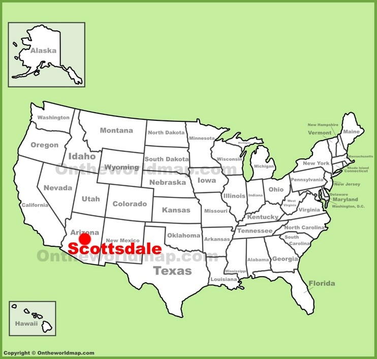 Scottsdale location on the U.S. Map