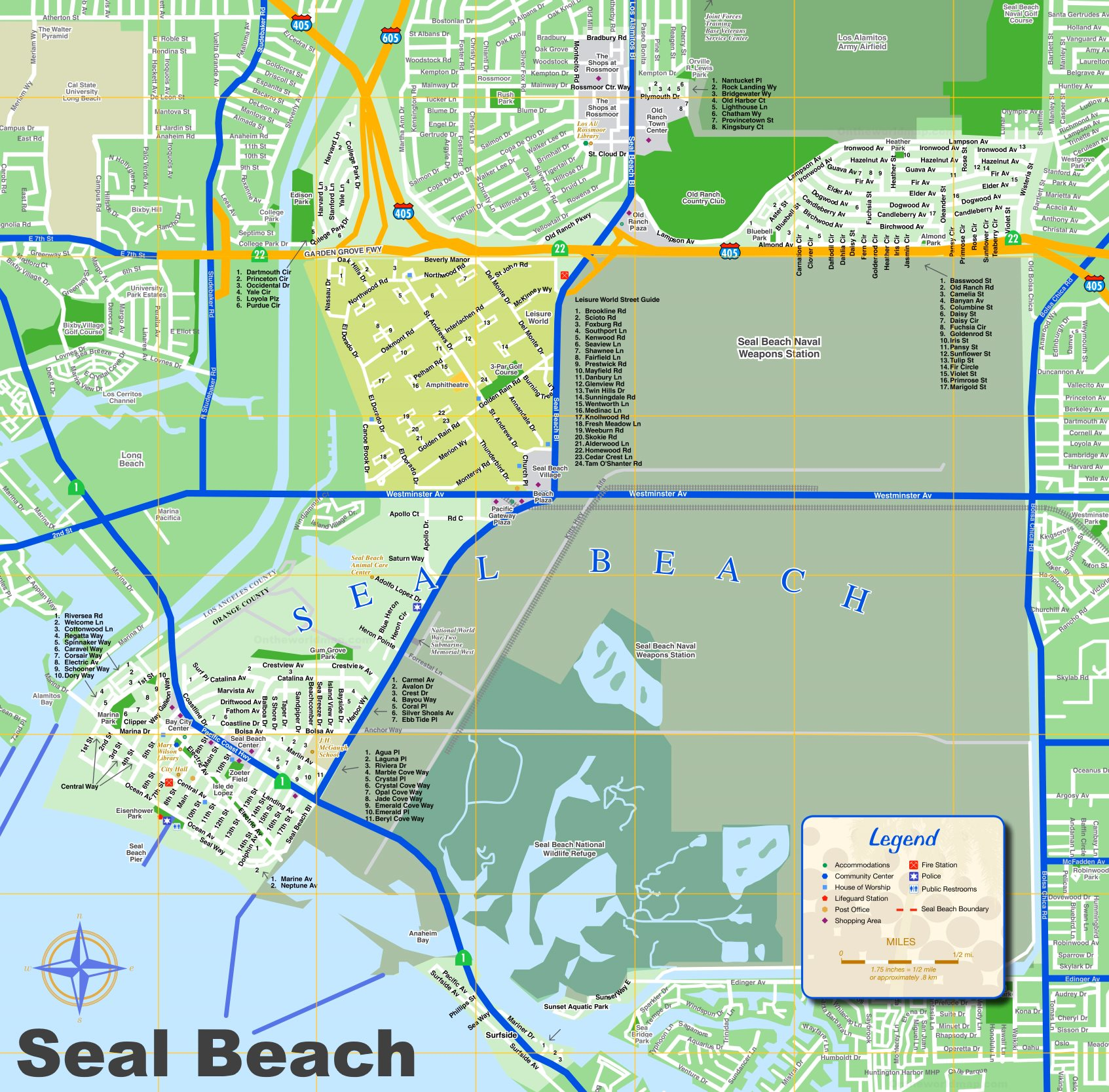 seal beach tourist map