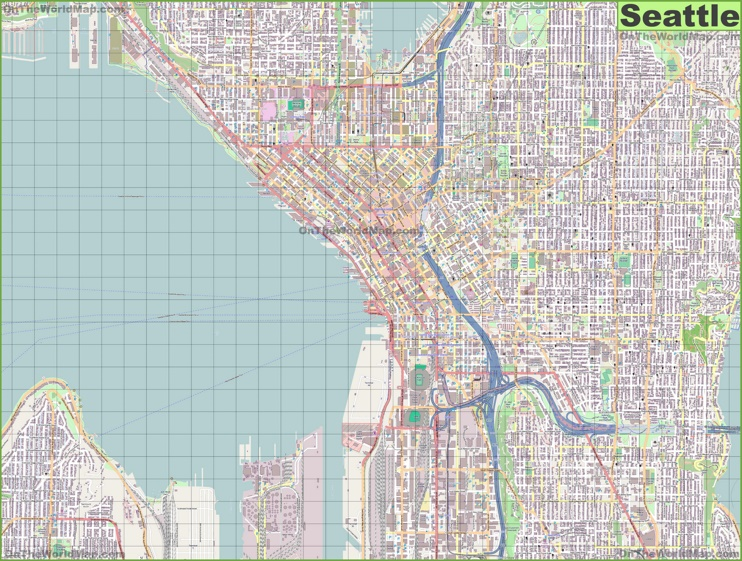 large detailed street map of seattle