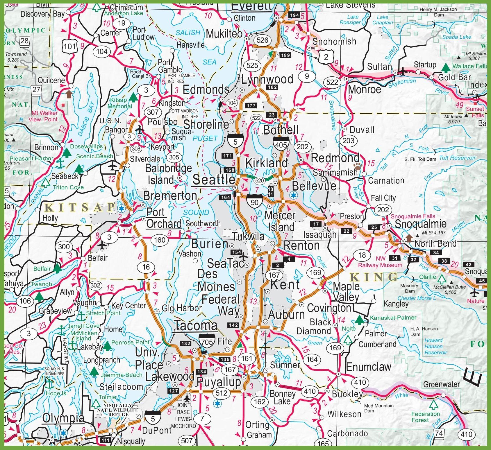 Map Of Seattle Area Seattle area map Map Of Seattle Area