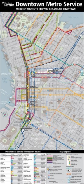 Seattle downtown metro public transport map