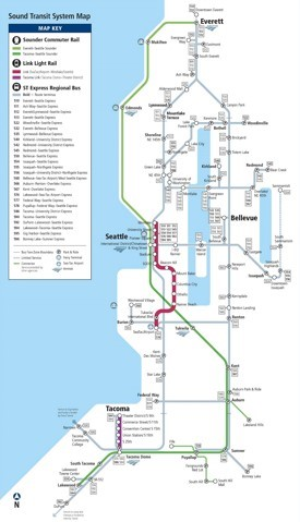 Seattle express bus, rail and light rail map