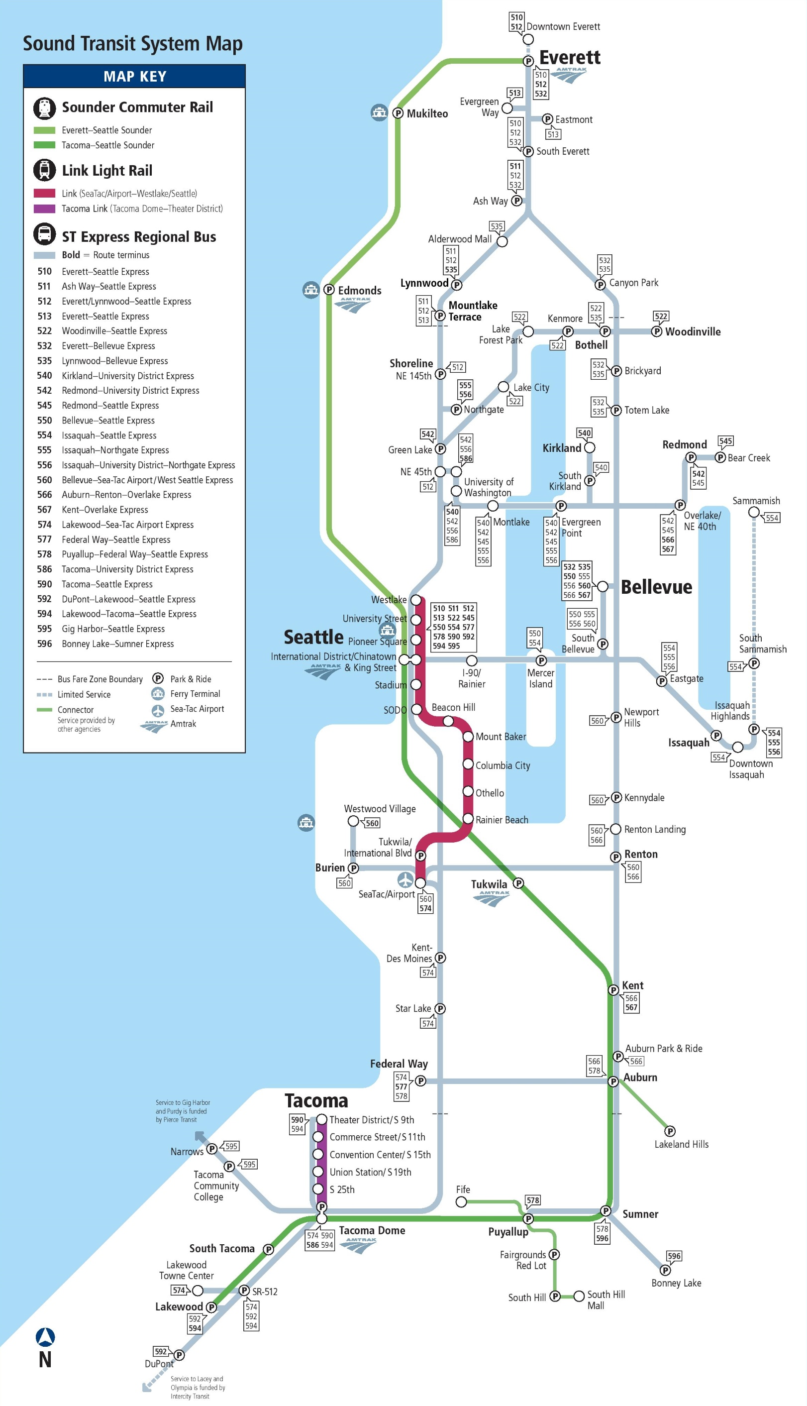 Seattle express bus rail and light rail map